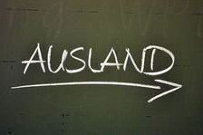 Ausland written on a chalkboard