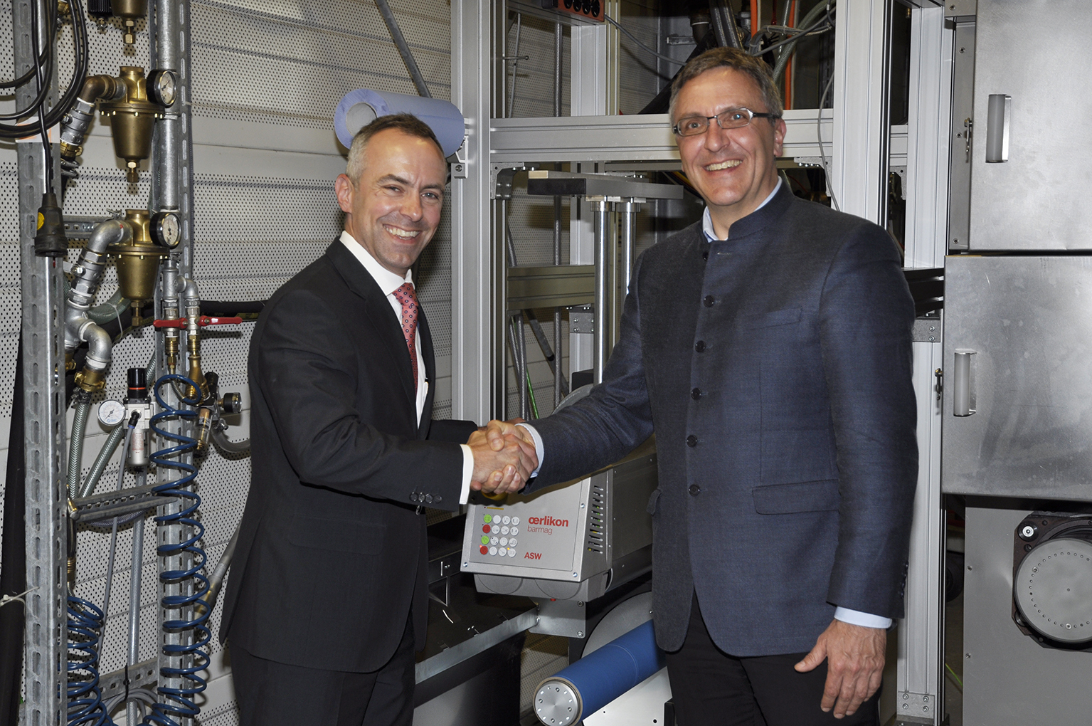 Celebratory handover of the Oerlikon Barmag winder to ITA